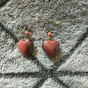 Two toned heart earrings pink and orange